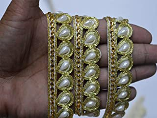 Wholesale Dull Gold Indian Beaded Trim by 9 Yard Clothing Accessories Laces Stone Work Border gota Patti Trimmings Embellishment Sari Crafting Sewing Tape for Online Unique Design Ribbons
