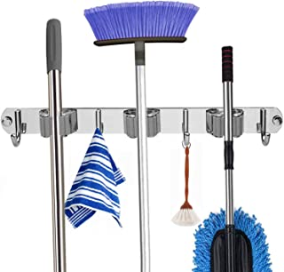 Kimiyoo Broom Holder Wall Mount - Self Adhesive Mop Broom Rack Stainless Steel Wall Utility Racks and Hooks for Laundry, Kitchen, Garden, Garage Organizing(4 Hooks)