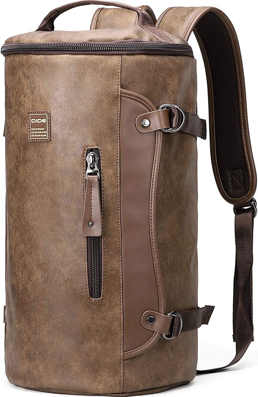 DiDe Backpack for Men Laptop Backpack Retro Weekend Travel Backpack Daypack (Khaki)