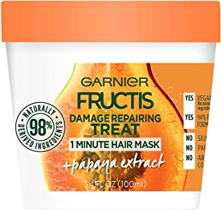 Garnier Fructis Damage Repairing 1 Minute Hair Mask, Papaya, 3.4 fl. oz. (Pack of 2)