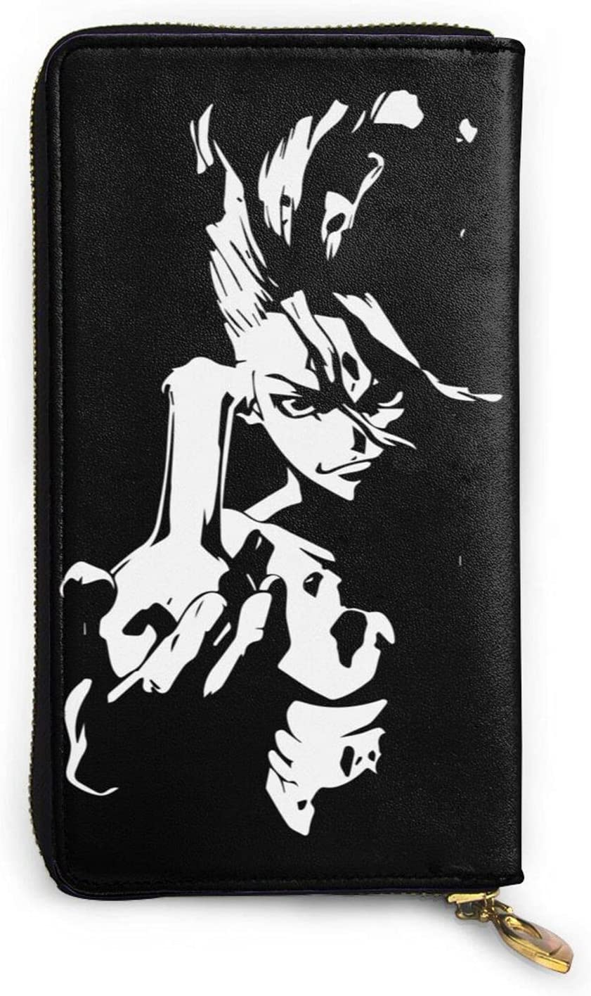 Cheap Dr.Stone Zipper Genuine NEW before selling Leather Unisex Long Wallet Hand