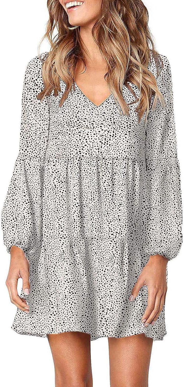 Eytino Women Summer Tunic Dress V Neck Long Sleeve Casual Loose Flowy Swing Shift Dress(S-XL)