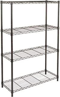 AmazonBasics 4-Shelf Adjustable, Heavy Duty Storage Shelving Unit (350 lbs loading capacity per shelf), Steel Organizer Wi...