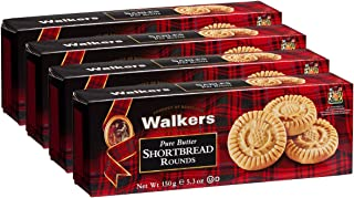 Walkers Shortbread Rounds Shortbread Cookies, 5.3 Ounce Box (Pack of 4)