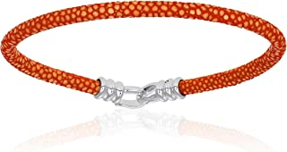 Double Bone Single Stingray Bracelet. Genuine Leather Bangle with Silver Clasp for Men and Women
