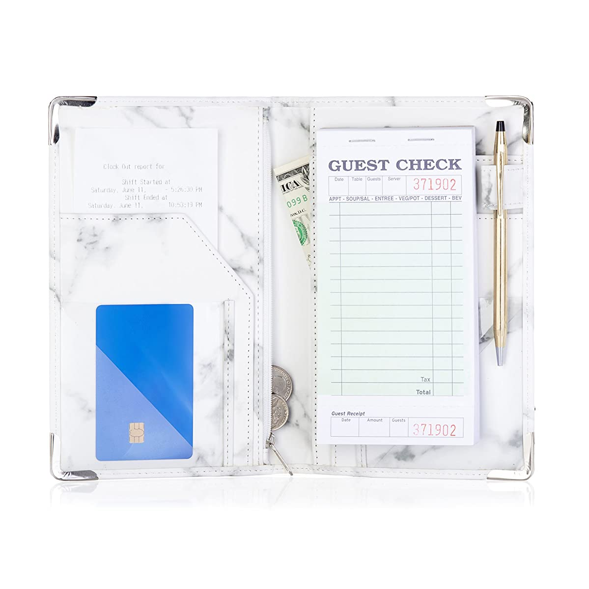Sonic Server Marble Style Deluxe Server Book for Restaurant Waiter Waitress Waitstaff | Classy White Marble | 9 Pockets Includes Zipper Pouch with Pen Holder | Holds Guest Checks, Money, Order Pad