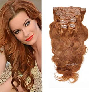 viviaBella Body Wave Hair Clip in Human Hair Extensions Copper Red Color 12 Inches Brazilian Virgin Hair Double Weft 7 Pcs/lot with 16 Clips for Girls Beauty (12
