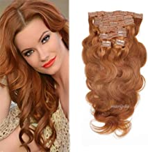 viviaBella Body Wave Hair Clip in Human Hair Extensions Copper Red Color 12 Inch Brazilian Virgin Hair Double Weft 7Pcs/lot with 16 Clips For Girls Beauty (12