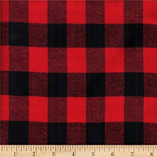 Textile Creations Windstar Twill Flannel 1inch Buffalo Check Black/Red Fabric by the Yard