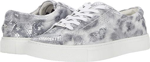 Silver/Black Leopard Snake Print Leather