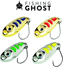 FISHINGGHOST Stellar Trout Spoon Set – Size: 1.18in, Weight: 0,18oz, Spoons, Trout Spoon Fishing Trout Bait Trout Bait for Fishing Trout, Char, Perch Lure Spoon, Perfect for Spinning (4X) …