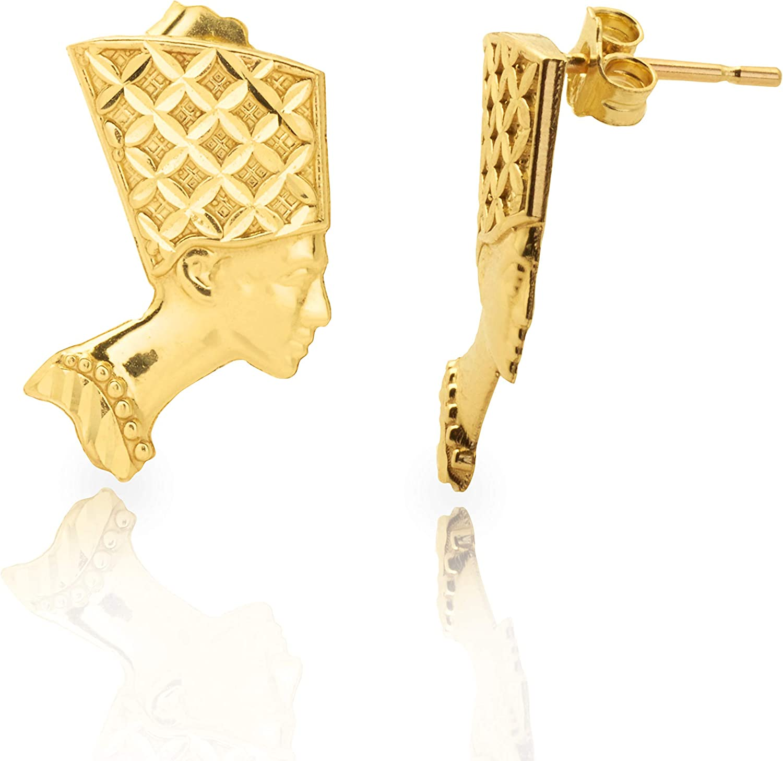 LoveBling 10k Yellow Gold Nefertiti Egyptian Head Stud Earrings (0.77