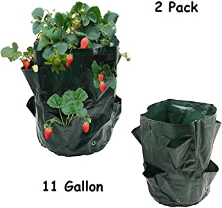 Y8HM 2 Pack 11 Gallon Strawberry Planting Grow Bags, Growing Bags with 8 Pocket Planter Grow Bag