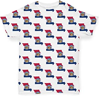 TWISTED ENVY All Over Print Baby T-Shirt Missouri USA States Pattern