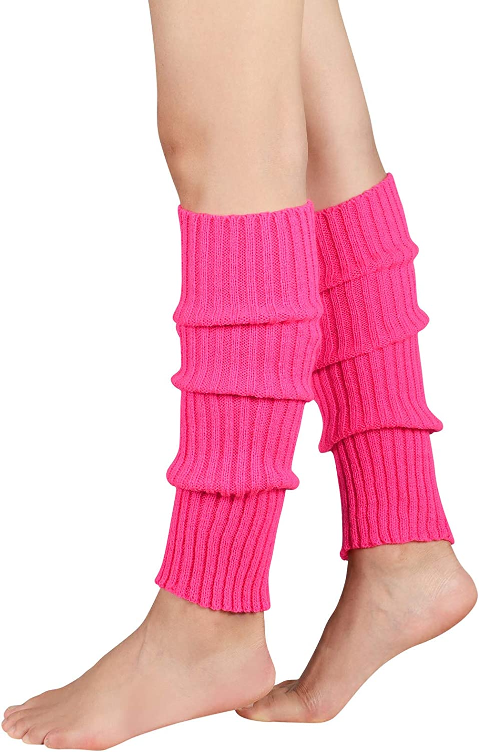 Durio Women's Fashion Leg Warmers 80s Ribbed Knit Leg Warmers Knee High Socks Warm Leg Warmer for Party Sports