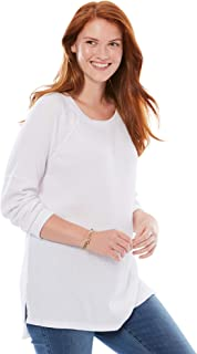 Women's Plus Size Raglan Washed Thermal Sweatshirt