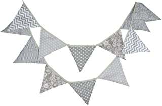 Gray Party Supplies Fabric Bunting Vintage Floral Chevron Stripes Hanging Garland Pennant for Wedding Baby Shower Banner Neutral Party Birthday Favor Nursery Decoration