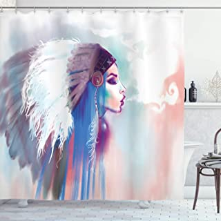 Ambesonne Native American Shower Curtain, Girl Smoking Pipe with Traditional Clothes Abstract Watercolor Background, Fabric Bathroom Decor Set with Hooks, 84