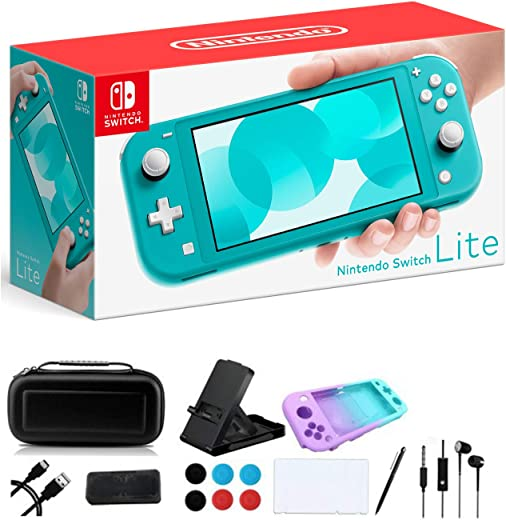 """Newest Nintendo Switch Lite - 5.5"""" Touchscreen Display, Built-in Plus Control Pad - Family Christmas Holiday Gaming Bundle - 802.11ac WiFi, Bluetooth 4.1 - iPuzzle 9-in-1 Carrying Case - Turquoise"""