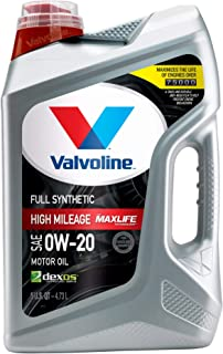 Valvoline Full Synthetic High Mileage with MaxLife Technology SAE 0W-20 Motor Oil 5 QT