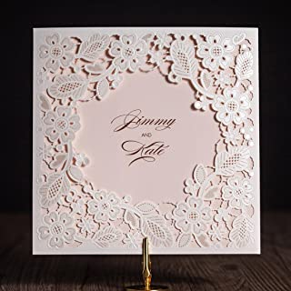 Jofanza WISHMADE Laser Cut Square Wedding Invitations Cards Kits with Tri-fold Pink Inner Sheet Printed Cardstock for Bridal Shower Engagement Birthday Baby Shower Quinceanera (White, 50 Pieces)