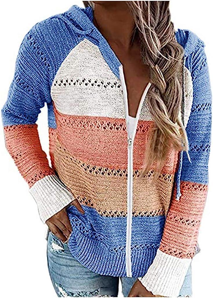 Jaqqra Hoodies for Women, Womens Zip Up Knit Color Block Sweatshirt Long Sleeve Pullover Tops Cute Tunic Sweatshirts