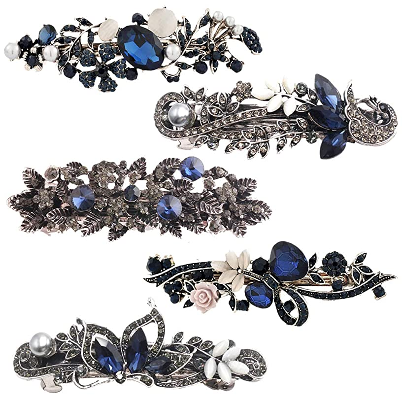 Frcolor 5Pack Crystal Rhinestone Hair Barrette Vintage Flower Butterfly Hair Clips Hair Jewelry
