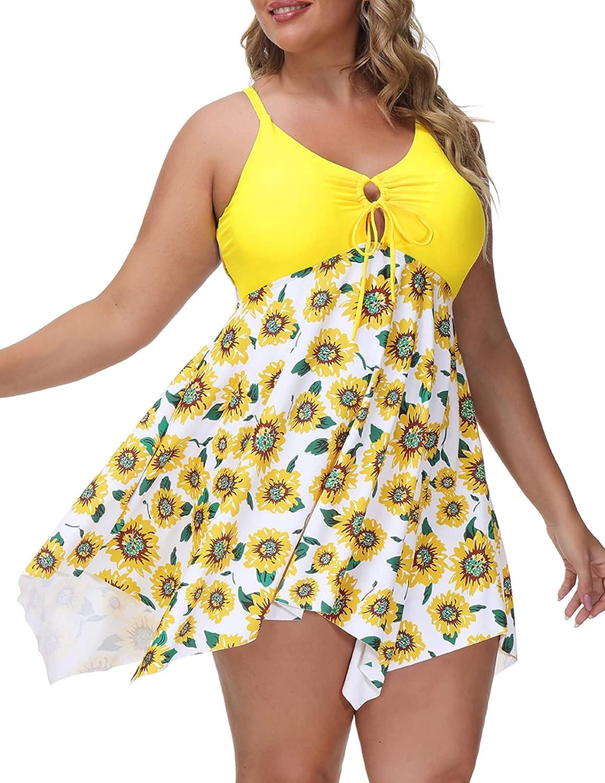 Hanna Nikole Womens One Piece Tummy Control Swimdress Plus Size Skirtini Cover Up Swimsuit