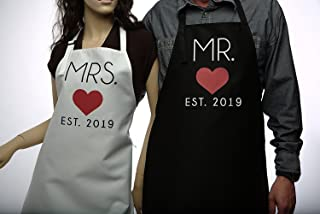GSM Brands Mr. and Mrs. 2019 Couples Kitchen Aprons (2-Piece Set) Cute, Funny Cooking Bibs for Wedding Marriage Newlyweds