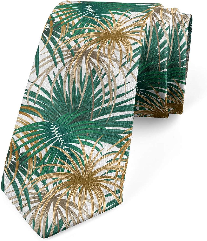 Ambesonne Necktie, Long Leafy Plants, Dress Tie, 3.7