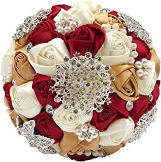 Abbie Home Bride Wedding Bouquet in Burgundy & Champagne - White Rose with Pearls and Rhinestone Brooches Accessories-Multi Color Selection (453RG)