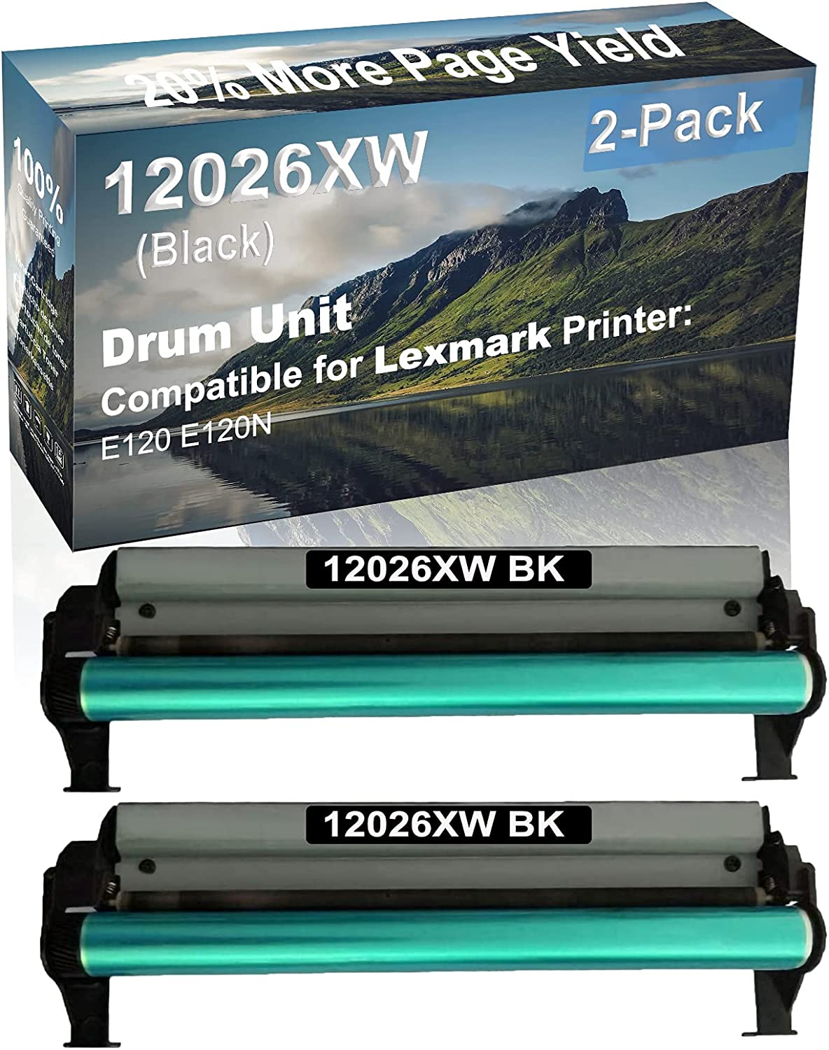 2-Pack Compatible Drum Unit (Black) Replacement for Lexmark 12026XW Drum Kit use for Lexmark E120 E120N Printer