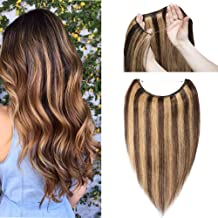 Hidden Invisible Crown Human Hair Extension Highlight One Piece Secret Miracle Wire in Hairpieces Highlight Remy Hair Translucent Fish Line Headband 65g 18''#4P27 Medium Brown mix Dark Blonde