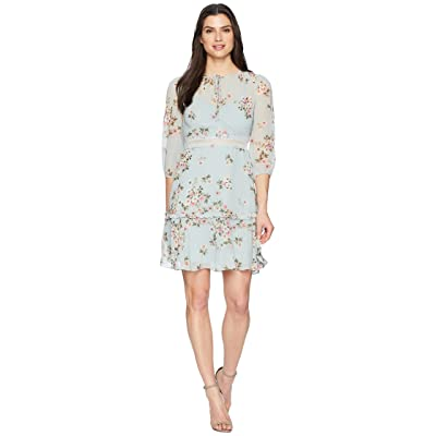 Donna Morgan Printed Chiffon with Faggoted Waist (Steel Blue/Blooming Pink Multi) Women