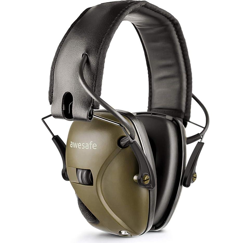 感謝激怒危険にさらされている射撃音などに対応した電子防音イヤーマフ、Awesafe GF01ノイズ削減サウンドアンプ搭載電子セーフティイヤーマフ、耳を強力に保護、NRR 22、射撃や狩りに理想的なアイテム (クラッシック、グリーン)