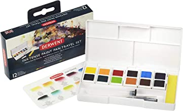 Derwent Inktense Watercolor Paint Set, Paint Pan Water Color Travel Set, includes 12 Vibrant Colors, Water Brush and Spong...