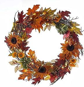 Kurt Adler 24-Inch Battery-Operated Fall Twig LED Wreath