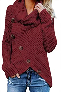 134431a982 Asvivid Women s Chunky Turtle Cowl Neck Asymmetric Hem Wrap Sweater Coat  with Button Details