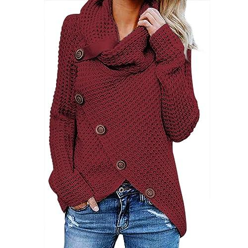 beccc6b7b13 Asvivid Women s Chunky Turtle Cowl Neck Asymmetric Hem Wrap Sweater Coat  with Button Details