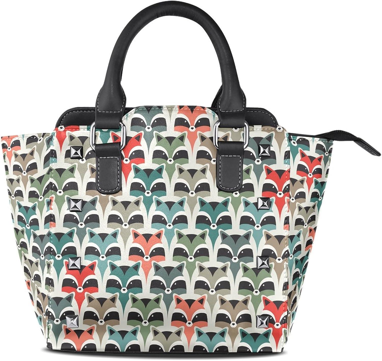 Sunlome Raccoon Print Women's Leather Tote Shoulder Bags Handbags