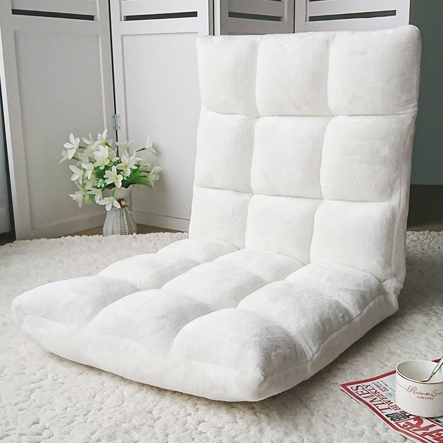 Recliners Lazy Couch Bed Chair Sofa Cute Folding Back Sofa Soft and Comfortable Stylish Single Multifunctional Sofa Single Tatami Sofa Small Bedroom Sofa Chair (color   White)