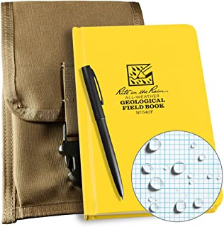 Rite in the Rain Weatherproof Geological Kit: Tan CORDURA® Fabric Pouch Cover, Geological Hard Cover Notebook, and an Weatherproof Pen (No. 540F-KIT)
