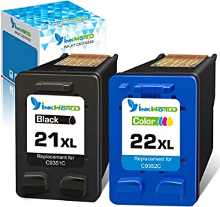 Inkworld Remanufactured 21XL 22XL Ink Cartridge Replacement Used for HP 21 22 Combo Pack Used for OfficeJet 5610 4315 J368...