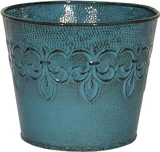 """Robert Allen MPT01642 Fluer De Lis Series Metal Planter Flower Pot, 10, 8"""", Surf Blue"""