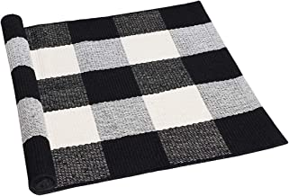 uxcell Cotton Plaid Area Floor Rugs Carpet Indoor Outdoor, Woven Washable Buffalo Checkered Mat Rugs, Retro Doormat Runner...