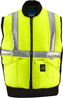 RefrigiWear Men's Insulated Iron-Tuff Hivis Safety Vest - ANSI Class 2 High Visibility with Reflective Tape