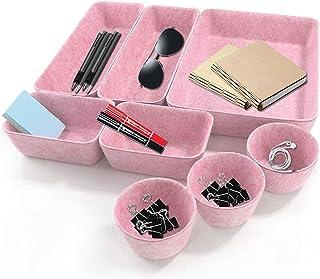 JIASHA Organisateur de Tiroir Feutre, 8 Pièces Bureau Tiroir Organisateur Maquillage Organiseur de Tiroir Rangement Sépara...
