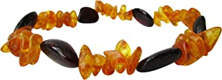 Baltic Amber Adult Stretchable Bracelet Anklet Unisex ABB25 Mix Cherry and Honey Colour 19cm Polished Chips Beads By Amber Corner