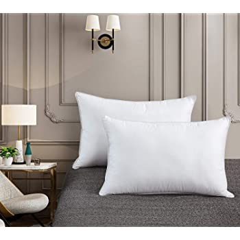 Goose Down Pillow - 1200 Thread Count 100% Egyptian Cotton Cover, Medium Firm, Standard/Queen Size, White Color