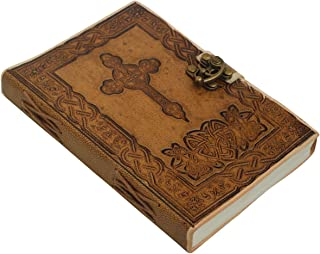5x7 Unlined Brown Holy Jesus Cross Writing Journal - Crafkart Handmade Leather Art Journal Sketchbooks And Notebooks Embossed Leather Journal